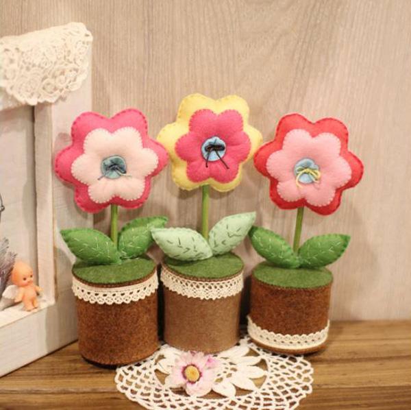 Cách làm chậu hoa handmade bằng vải nỉ cực dễ thương